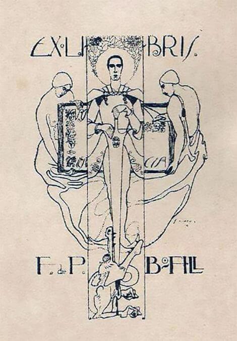 Exlibris 105 San Jorge con dos musas_papel
