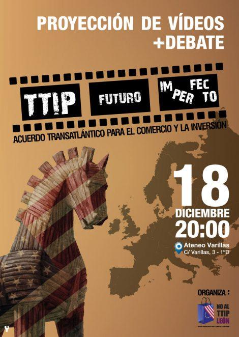 Cartel charla-proyección TTIP
